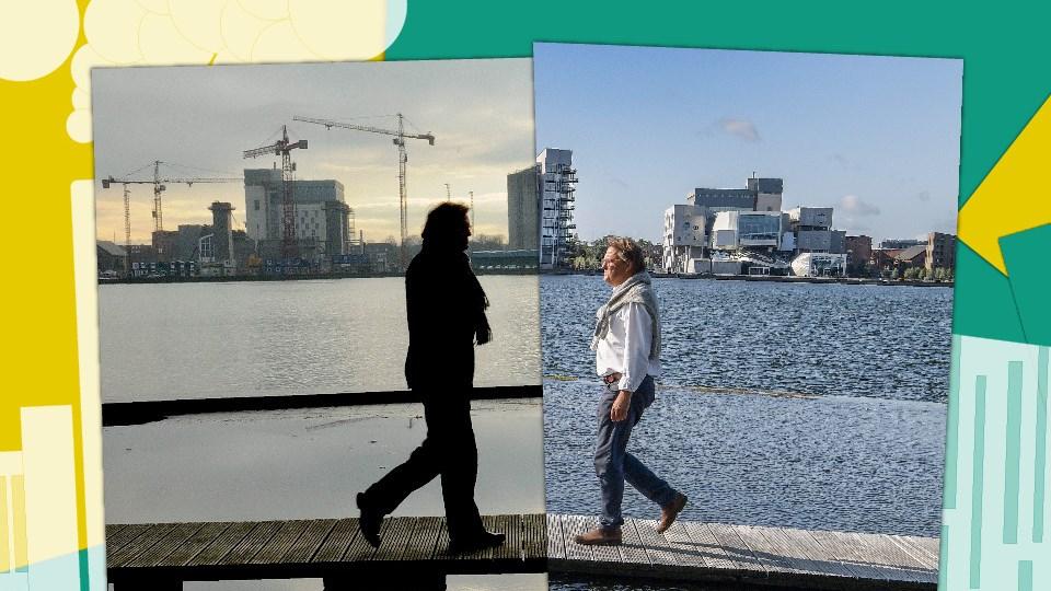 Til venstre: Stadsarkitekt Peder Baltzer Nielsen med Aalborgs havnefront i baggrunden i 2011. Til højre: Stadsarkitekten samme sted i 2019. Begge fotos: Michael Koch. Illustration. Prøv grafisk effekt i artiklen, der viser forvandlingen