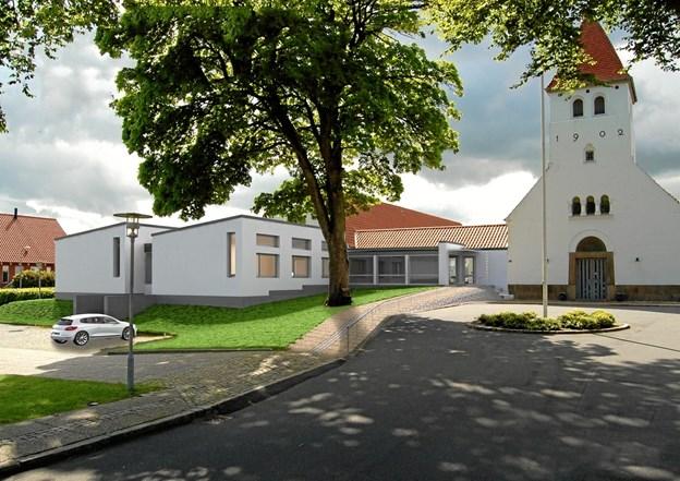 Det er en længe ventet tilbygning til Sydfløjen som Bangsbostrand Kirke viser frem for offentligheden den første søndag i advent. (Privatfoto).