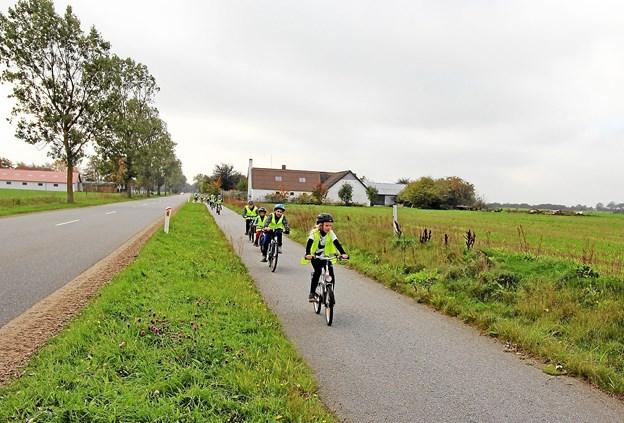 Cyklerne blev også luftet godt og grundigt i løbet af ugen. Her går ruten fra skolen og til Rørholt og tilbage igen. Foto: Jørgen Ingvardsen