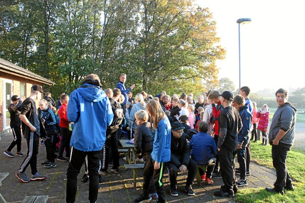 Klubhuset i Vilsted var fredag før efterårsferien udgangspunkt for Vilsted Friskoles version af Skolernes Motionsdag. Privatfoto