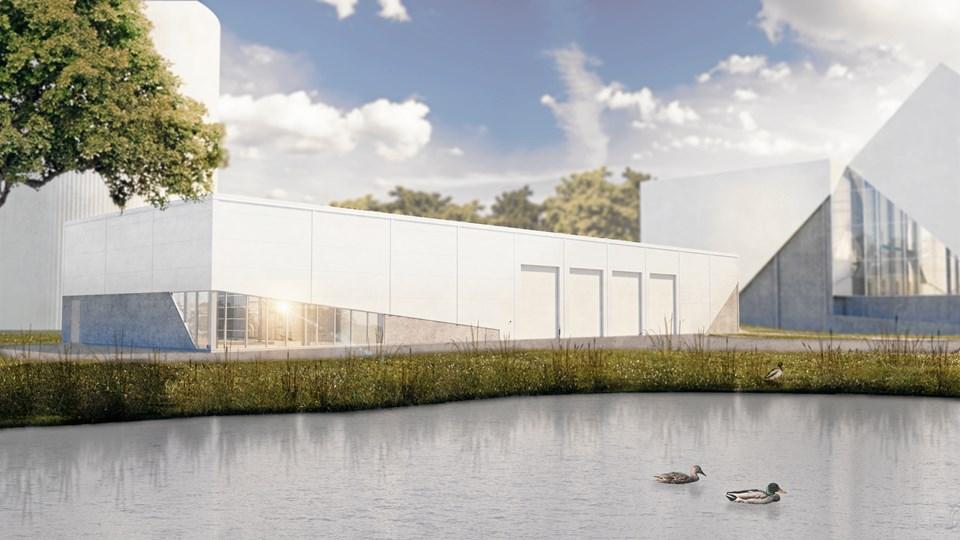 Teknikbygningen, som den kommer til at se ud ved Aabybro. Illustration: Arcon-Sunmark