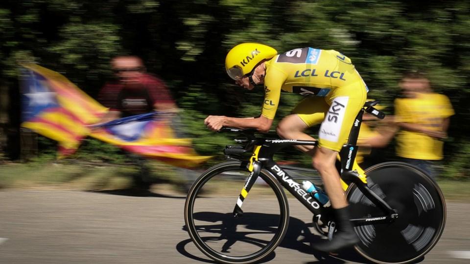 Chris Froome skal forsøge at forsvare den gule trøje på torsdagens enkeltstart. Arkivfoto: Kenzo Tribouillard/Scanpix