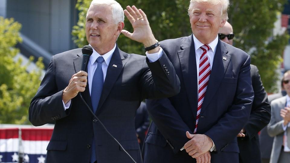Donald Trump med sin vicepræsidentkandidat Mike Pence ved konventet i Cleveland. Foto: Scanpix