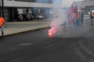 Vrede havnearbejdere demonstrerede foran FF Skagen