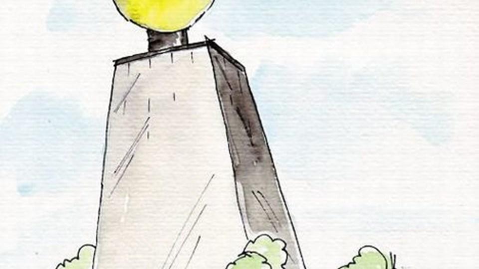 I kuplen øverst oppe skal der naturligvis være restaurant med udsyn over hele byen og fjorden. Tegning: Jens Schmidt