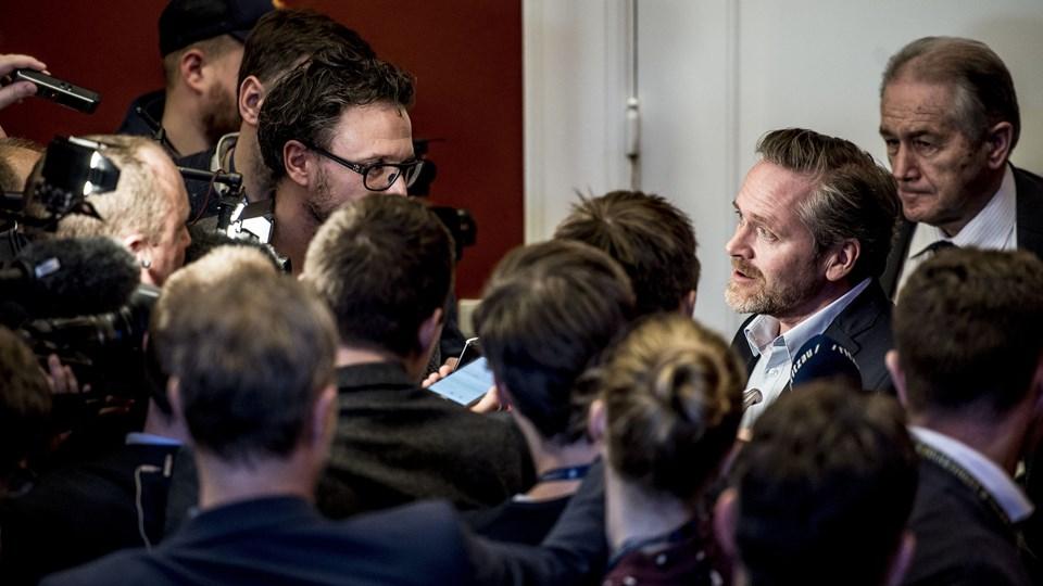 LA-partileder Anders Samuelsen skal fredag eftermiddag drøfte det politiske stormvejr, han erkender at have bragt partiet i, med 29 partifæller i Liberal Alliances hovedbestyrelse. Foto: Scanpix/Mads Claus Rasmussen/arkivfoto