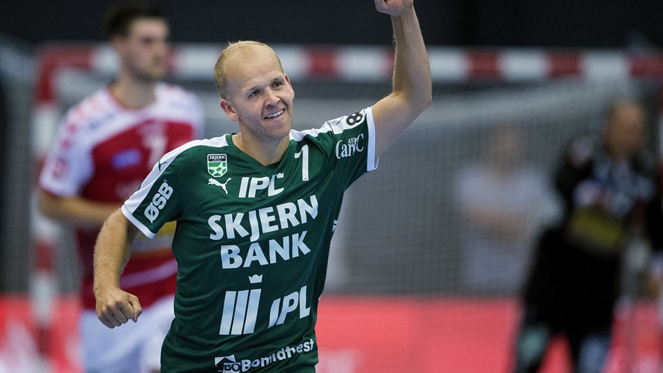 Anders Eggert og Skjern udbyggede forspringet i toppen af 888 Ligaen. Foto: Scanpix/Liselotte Sabroe