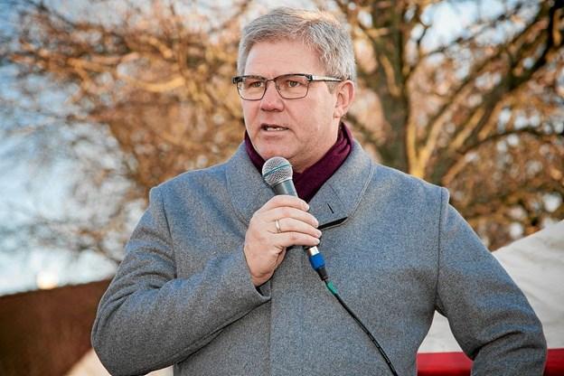 Borgmester Arne Bolt lovede i sin tale at give 150.000 kr. i tilskud til, færdiggørelse af projektet. Foto: Peter Jørgensen Peter Jørgensen