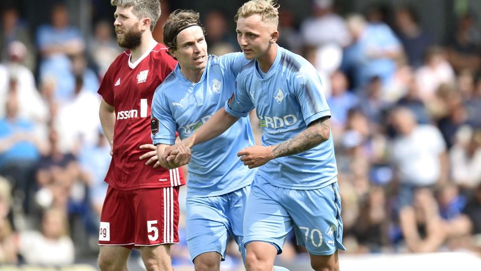 Randers FC sikrer sig endnu en sæson i Superligaen efter en 2-1-sejr over Lyngby, som skal spille playoffkamp mod Vendsyssel. Foto: Scanpix/Bo Amstrup