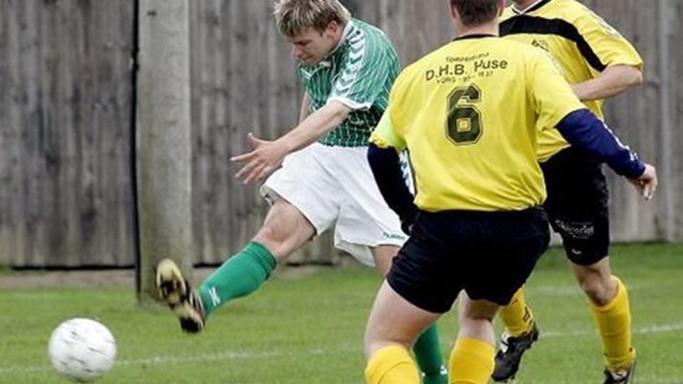 Michael Dragsbæk var blandt de nye ansigter, da Nors Boldklub lørdag startede træningen frem mod sæsonen i serie 1. På billedet ses Dragsbæk i den grønne trøje, som han i sidste sæson bar for Hanstholm.  Arkivfoto.
