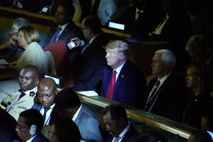 Trump kom på uanmeldt lynvisit på FN's klimatopmøde