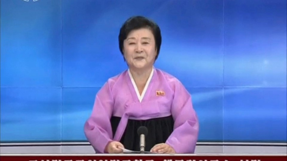 KRT newscaster confirming that North Korea has conducted a nuclear test Foto: Reuters/Krt