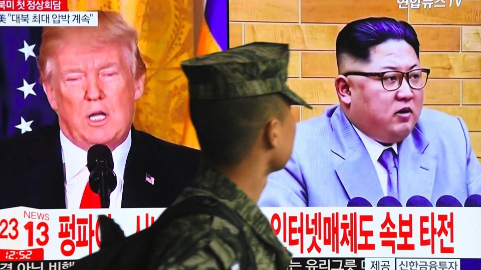 Kim Jong-un og Donald Trump skal mødes til maj. Førstnævnte har alt at vinde ved det møde, vurderer ekspert. Foto: Jung Yeon-je/Ritzau Scanpix