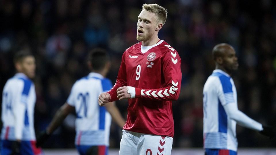 Nicolai Jørgensen misbrugte et par gode muligheder for at score i Danmarks 1-0-testsejr over Panama. Foto: Scanpix/Liselotte Sabroe
