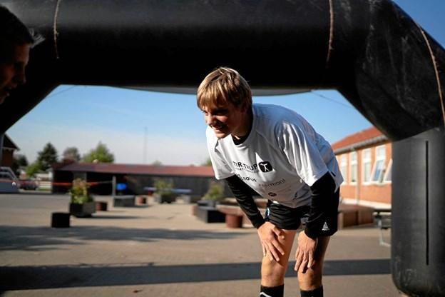 Til daglig går 15-årige Christian Engberg fra Hobro på fodboldlinjen på den syddjurske efterskole. Privatfoto: Sofie Janerka/Tirstrup Idrætsefterskole.