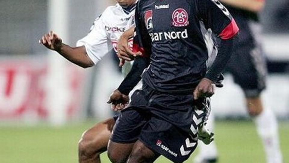 Siyabonga Nomvethe,kommer ikke med AaB til Spanien. Foto: Lars Pauli