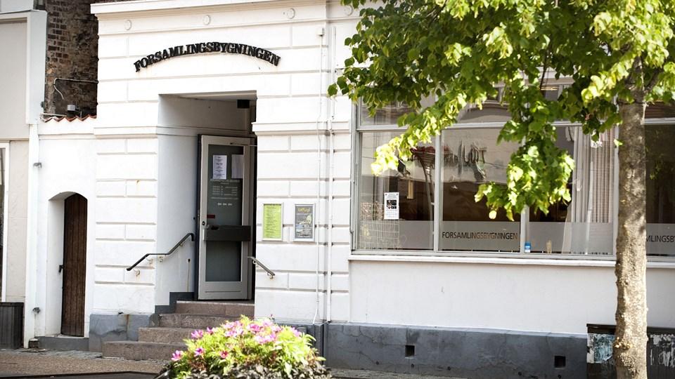 Forsamlingsbygningen i Østergade i Hjørring er fortsat uden bestyrelse. Foto: Bente Poder