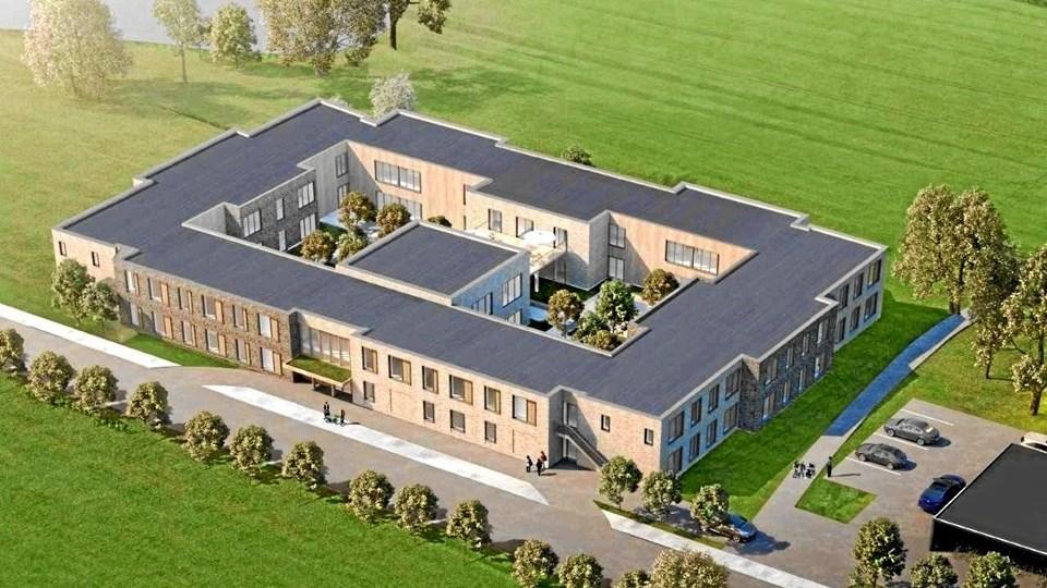 I sommer begyndte Danske Diakonhjem opførelsen af et friplejehjem i Nørager. Efter planen bliver det klar til åbning i efteråret 2020. Tegning: ERIK Arkitekter