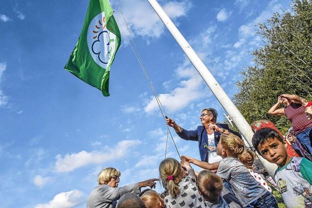 Med hjælp fra mindst 20 børn, fik borgmester Ulla Vestergaard hejst det grønne flag. Foto: Ole Iversen