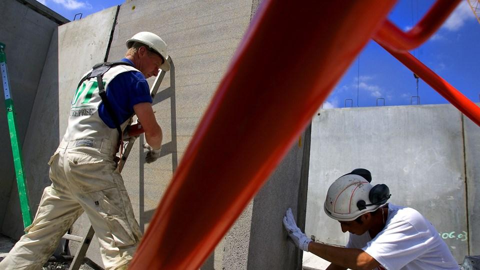 Der bliver fortsat flere, som får arbejde i byggefagene. Næsten 170.000 var ansat i byggebranchen i fjerde kvartal sidste år. Foto: Scanpix/Søren Bidstrup