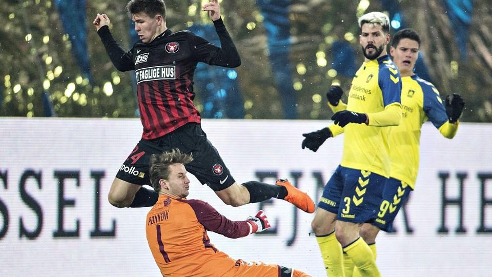 Brøndby vandt torsdag med 1-0 i Herning i slaget mellem Superligaens to tophold. Foto: Scanpix/Henning Bagger