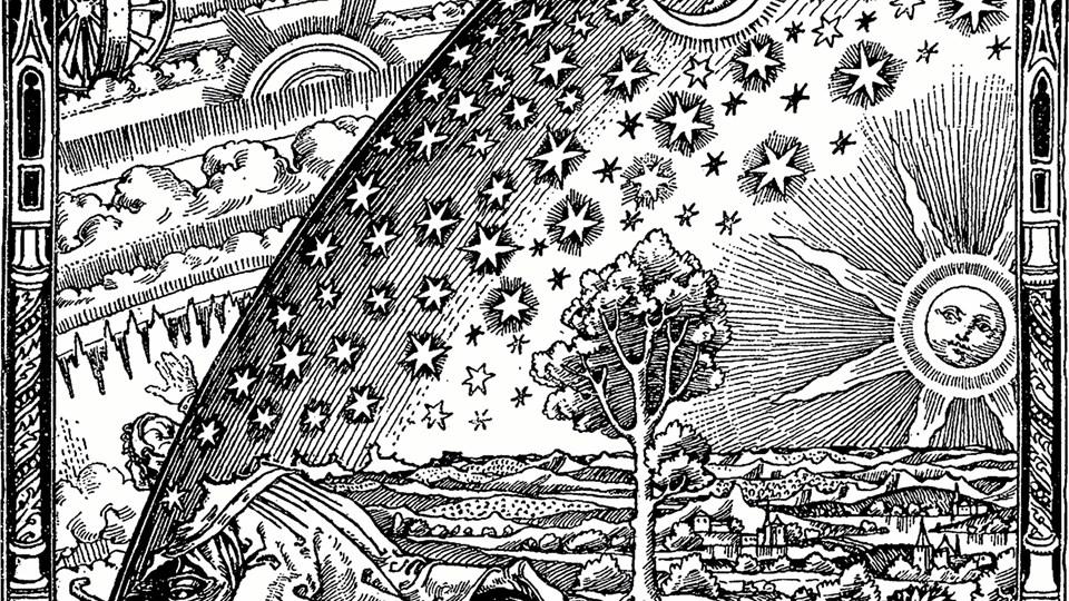 """Måske astronomen Camille Flammarion selv har tegnet stedet, hvor himlen og jorden mødes, i sin bog fra 1888, """"L'atmosphère: météorologie populaire"""". Ingen har kunnet finde ophavsmanden til træsnittet, der viser, hvordan nogle i Middelalderen mente, at der helt konkret blot var en tynd hinde mellem det jordiske liv og troens univers."""