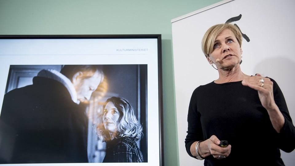 Kulturminister Mette Bock (LA) præsenterede torsdag regeringens udspil til et nyt medieforlig i kulturministeriet i København. Foto: Scanpix/Mads Claus Rasmussen