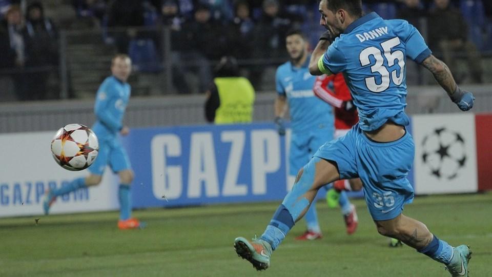 Zenit's Danny scorer kampens eneste mål, onsdag aften i Sankt Petersborg. Foto: Dmitry Lovetsky/AP/POLFOTO