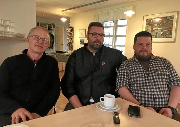 Daglig leder Poul Nielsen sammen med to af veteranerne, Alex Therkelsen og Morten Leimand, håber, at de om et års tid kan indvi veteranstuen på KFUM's Orlogshjem på Understedvej.