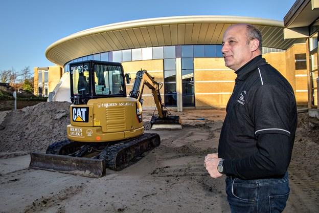 Autobranchens Udviklingscenter markerer nu udvidelsen.  Arkivfoto Peter Broen