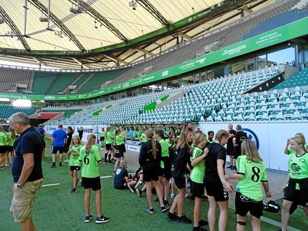 Gæsterne fra Thy besøgte det store stadion i Wolfsburg.Foto: Bent Andersen