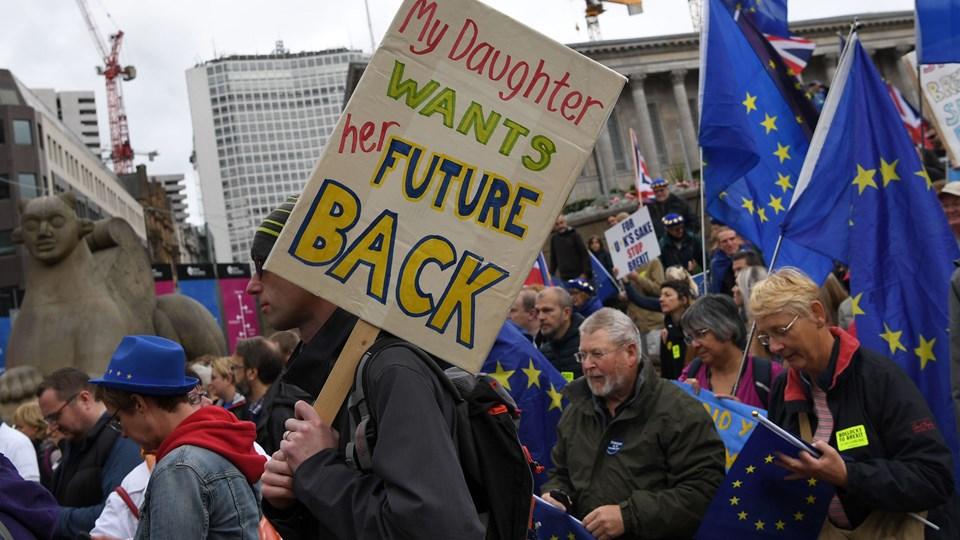 """""""Min datter vil have sin fremtid tilbage"""", står der på et af de skilte, som brexitmodstandere havde med under en demonstration uden for det kongrescenter i Birmingham, hvor Storbritanniens konservative regeringsparti søndag har indledt den årlige kongres. Foto: Paul Ellis/Ritzau Scanpix"""