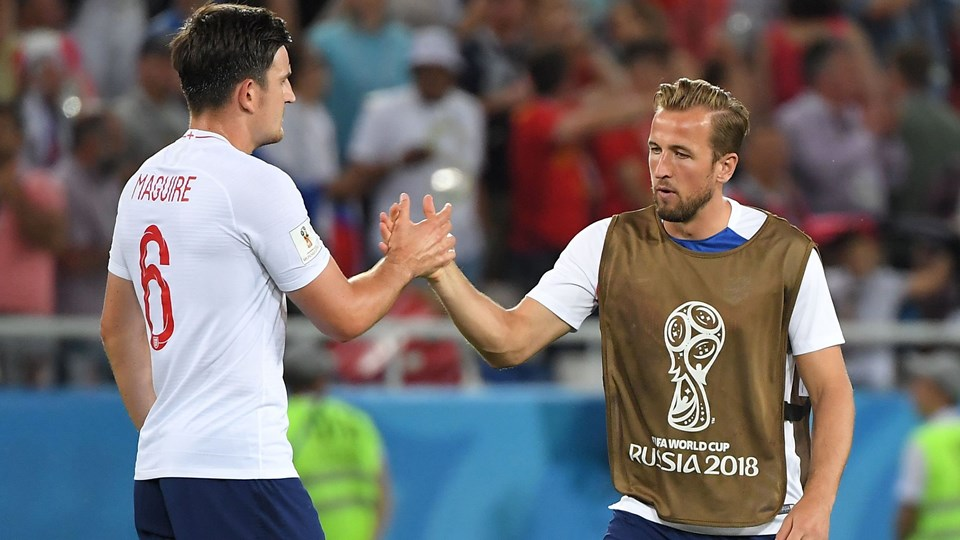Harry Kane er i fokus i den britiske presse som anfører for England og foreløbig topscorer ved VM med fem mål. Foto: Patrick Hertzog/Ritzau Scanpix