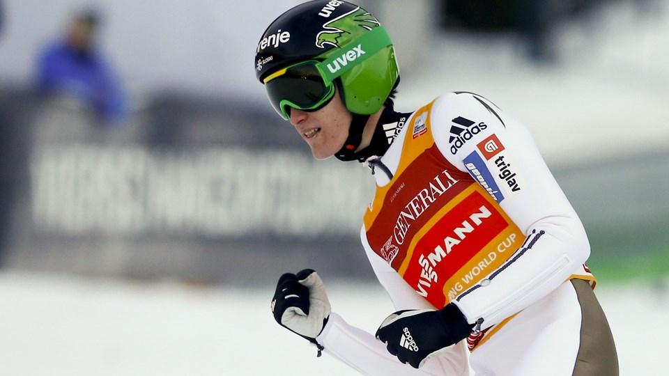 Peter Prevc var ikke overaskende suveræn ved nytårsskihoppet i Garmisch. Foto: MIchael Dalder/Scanpix