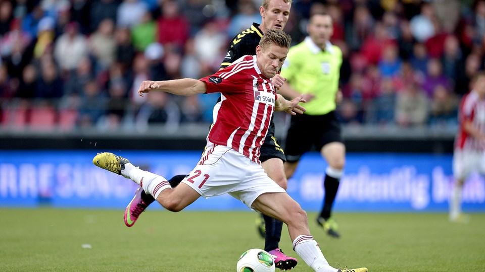 Anders K. Jacobsen ligner et scoop for AaB. Angriberen fra Fredericia har fået fuld spilletid i to kampe og scoret i begge. Foto: Lars Pauli
