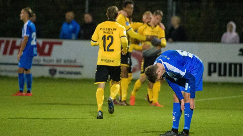 Thisted FC løb ind i en skuffelse lørdag, hvor det blev til et nederlag mod VSK Aarhus. Arkivfoto: Bo Lehm