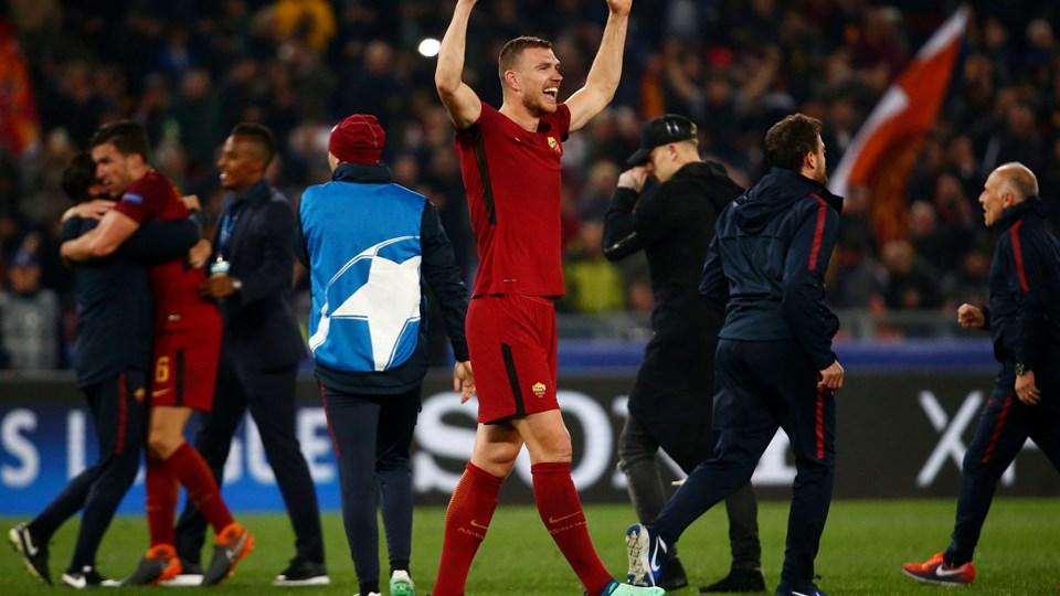 Edin Dzeko og AS Roma leverede den helt store overraskelse, da romerne sendte selveste FC Barcelona ud af Champions League med en hjemmesejr på 3-0 i returmødet i kvartfinalen. Foto: Reuters/Tony Gentile