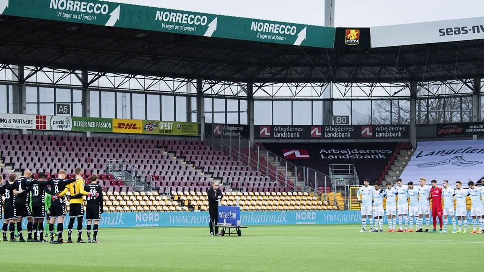 Blot 568 tilskuere var mødt op til weekendens opgør mellem FC Helsingør og AC Horsens. Foto: Scanpix/Claus Bech
