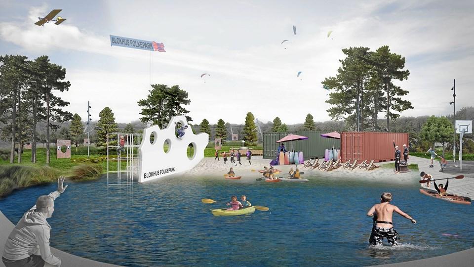Der bliver også kajakroning og anden vandsport i parken. ontainerne kan flyttes rundt alt efter hvor der er brug for dem og bruges til for eksempel omklædning eller pop-up-begivenheder.
