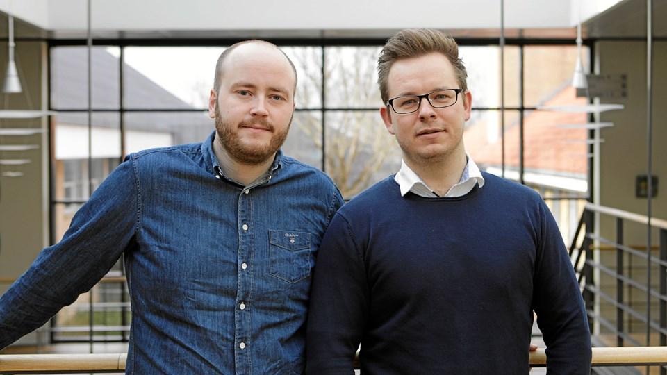 Morten Holst Henriksen (tv.) og Christoffer Baadsgaard fortsætter udviklingen af den nye inkassoplatform. Privatfoto