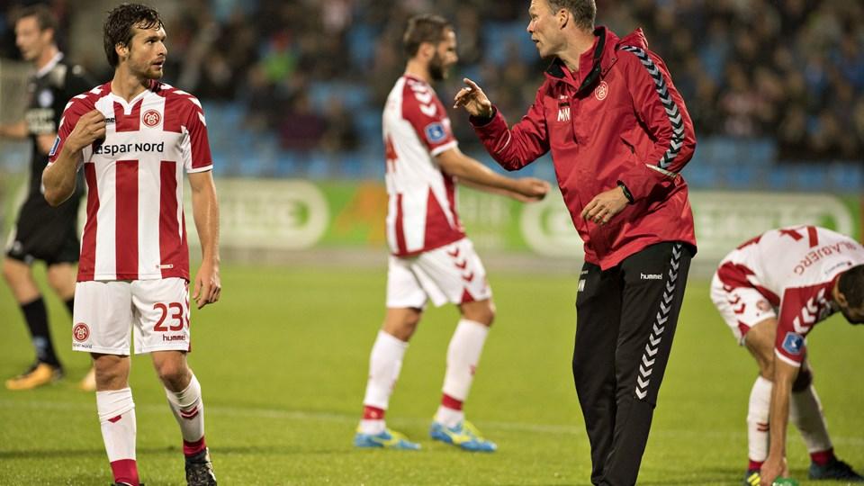 AaB's cheftræner savnede målet til 3-1 mod Silkeborg, men var ellers tilfreds. Foto: Henrik Louis.