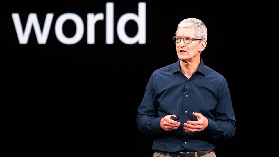 Apples topchef, Tim Cook, begrundede i januar nedjustering med et vigende salg af iPhones i Kina. Ifølge analysefirma afskibede Apple i fjerde kvartal 2018 næsten 20 procent færre iPhones i Kina end i samme kvartal året før.  (Arkivfoto).