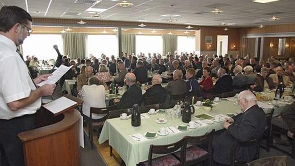 Bestyrelsesformand  Egon Korsbæk aflagde beretning på generalforsamlingen i ebh bank a/s Foto: Erik sahl