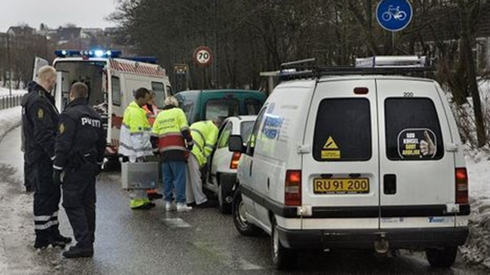 To personer kom lettere til skade.Foto: Martin Damgård