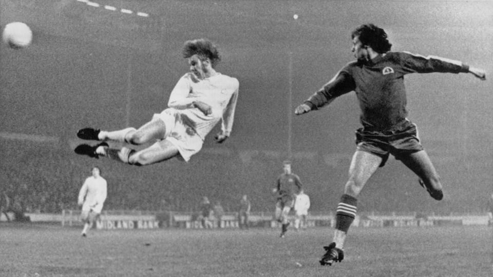 Henning Jensens ikoniske hovedstødsmål på Wembley i 1972. Foto: /ritzau/PA/arkiv