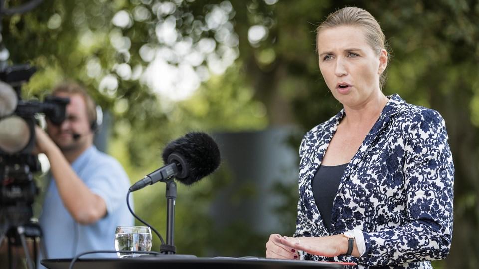 S-formand Mette Frederiksen vil ikke ændre udlændingekurs, men hun tilføjer, at et parlamentarisk grundlag for en eventuel S-regering vil få indflydelse. Foto: Frank Cilius/Ritzau Scanpix