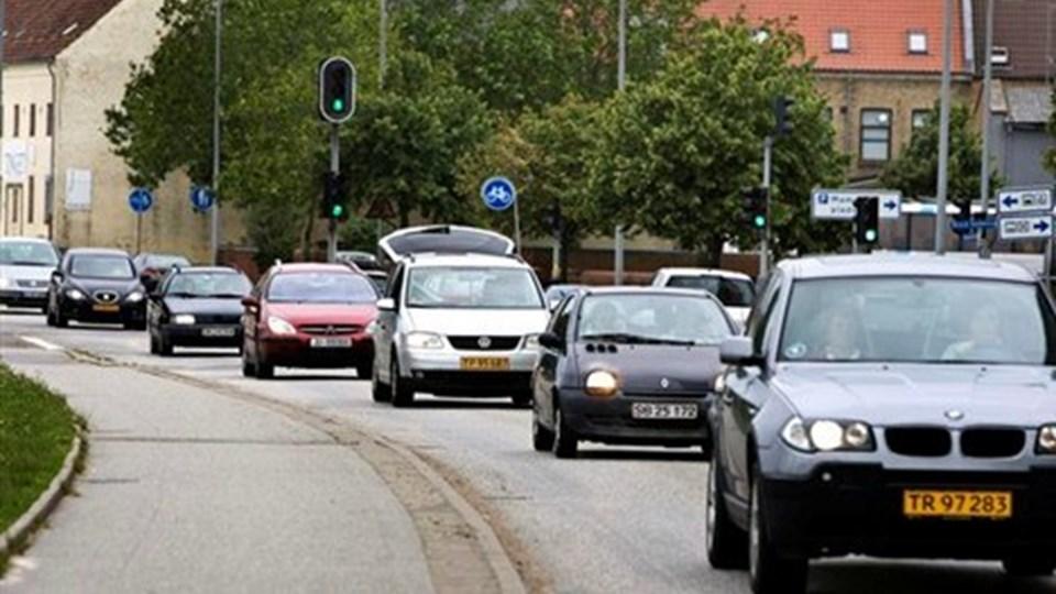 Trafikken på Frederikshavnsvej i Hjørring har taget til, og derfor står en omfartsvej højt på ønskesedlen. Foto: Kim Dahl Hansen