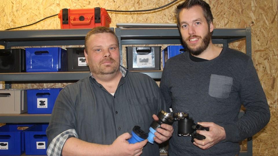 De to iværksættere Mads Pedersen og Rene Nørgaard fik officielt først deres CVR-nummer til Gripa i starten af januar, men har allerede fået designbeskyttelse på deres hurtigskift-system til robotter i fødevareindustrien og er godkendt til et program for særligt perspektivrige iværksættere. Privatfoto