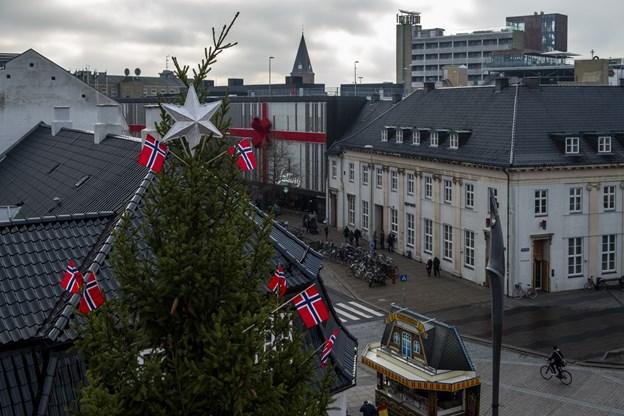 Omkring kl. 11.30 var træet rejst og de arbejdende folk kunne derefter gå til frokost på Duus Vinkælder. Foto: Lasse Sand