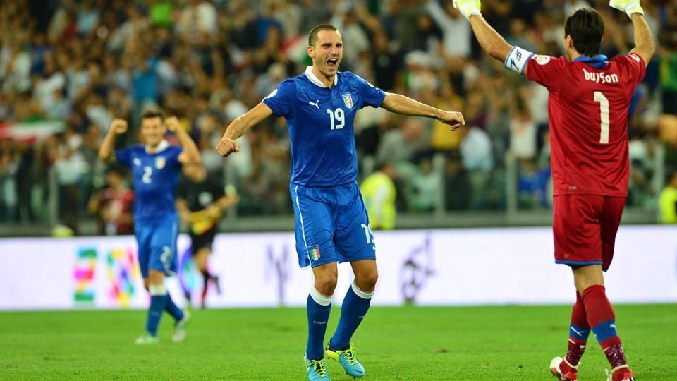 Italien sikrede sig VM-billetten med 2-1 sejren over Tjekkiet. Foto: Scanpix